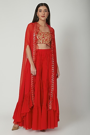 Red Embroidered Sharara Set by Chhavvi Aggarwal