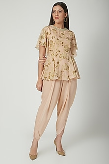Beige Printed Peplum Top With Dhoti Pants by Chhavvi Aggarwal