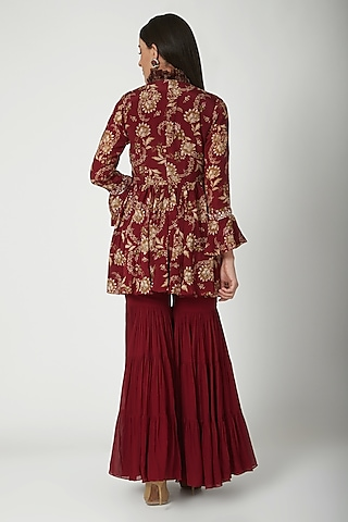 Maroon Printed Jacket WIth Sharara Pants  by Chhavvi Aggarwal