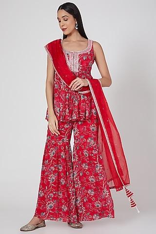 Red Embroidered & Printed Sharara Set by Chhavvi Aggarwal