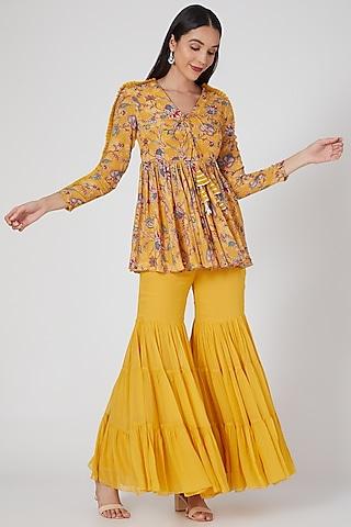 Yellow Embroidered & Printed Sharara Set by Chhavvi Aggarwal