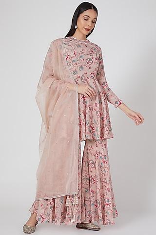 Nude Pink Printed & Embroidered Sharara Set by Chhavvi Aggarwal