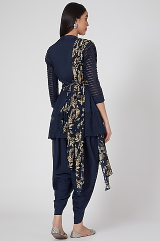 Navy Blue Printed & Embroidered Tunic Set by Chhavvi Aggarwal