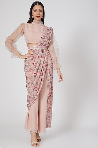Nude Pink Printed & Embroidered Pant Saree Set by Chhavvi Aggarwal
