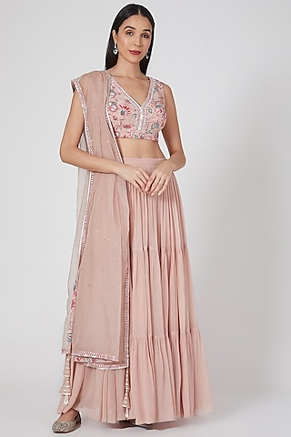 Nude Pink Printed & Embroidered Lehenga Set by Chhavvi Aggarwal