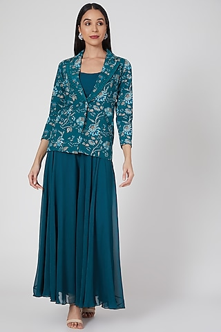 Teal Blue Printed & Embroidered Palazzo Pant Set by Chhavvi Aggarwal