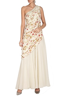Cream Printed & Embroidered Saree Gown by Chhavvi Aggarwal