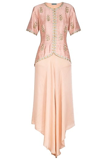 Pink Embroidered Jacket With Flared Pants by Chhavvi Aggarwal