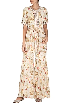 Cream Printed & Embroidered Gharara Set by Chhavvi Aggarwal