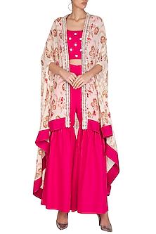 Pink Crop Top & Gharara Pants With Printed Cape by Chhavvi Aggarwal