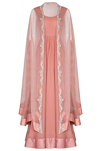 Pink Anarkali Gown With Embroidered Cape by Chhavvi Aggarwal