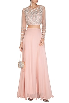 Pink Embroidered Crop Top & Skirt by Chhavvi Aggarwal