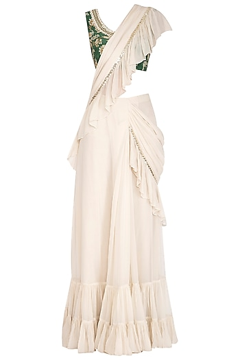 Cream Embroidered Saree Set by Chhavvi Aggarwal