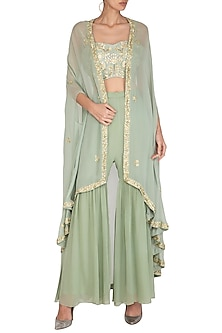 Sage Green Embroidered Gharara Set With Cape by Chhavvi Aggarwal