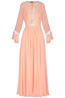 Peach Embroidered Gown by Chhavvi Aggarwal