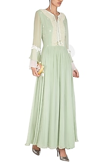 Mint Green Embroidered Gown by Chhavvi Aggarwal