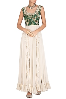 Green & Cream Printed Embroidered Anarkali Gown by Chhavvi Aggarwal