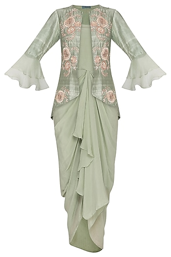 Sage Green Drape Dress With Embroidered Jacket by Chhavvi Aggarwal