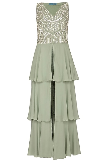 Sage Green Embroidered Layered Jacket With Straight Pants by Chhavvi Aggarwal