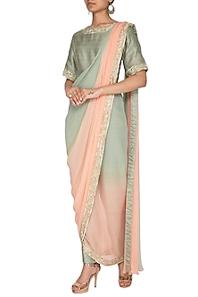 Sage Green Embroidered Drape Saree With Pants by Chhavvi Aggarwal