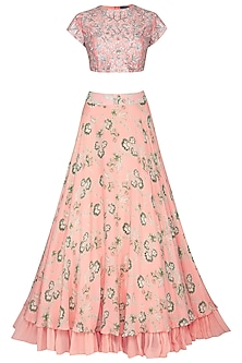 Peach Embroidered & Printed Lehenga Set by Chhavvi Aggarwal