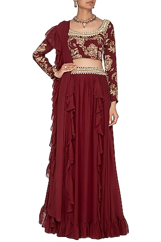 Maroon Printed & Embroidered Lehenga Set by Chhavvi Aggarwal