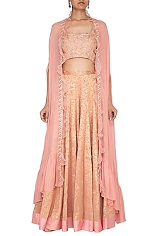 Peach Embroidered Banarasi Cape Lehenga Set by Chhavvi Aggarwal