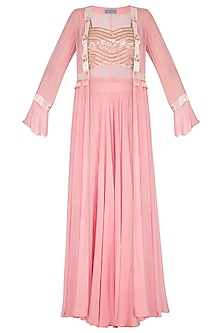 Pink Embroidered Blouse With Jacket & Palazzo Pants by Chhavvi Aggarwal