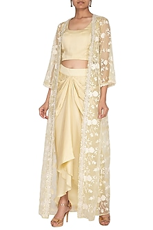 Lemon Yellow Drape Skirt With Crop Top & Sequins Jacket by Chhavvi Aggarwal