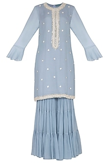 Powder Blue Sharara Set by Chhavvi Aggarwal