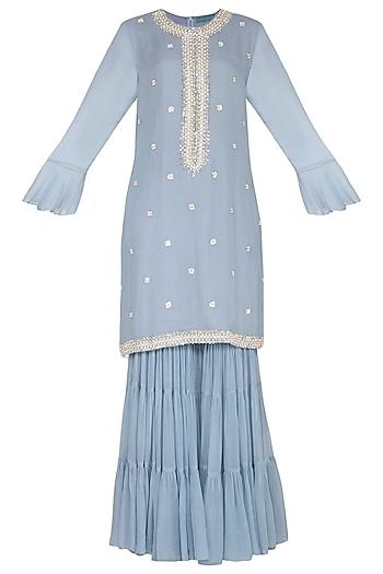 Powder Blue Sharara Set by Chhavvi Aggarwal