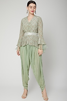 Mint Green Printed Top With Pants by Chhavvi Aggarwal