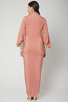 Peach Printed Dress With Embroidered Cuffs by Chhavvi Aggarwal