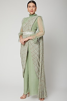 Mint Green Printed Pant Saree Set With Belt by Chhavvi Aggarwal