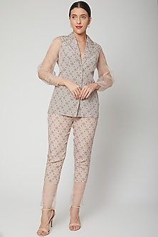 Mauve Blazer With Pants by Chhavvi Aggarwal