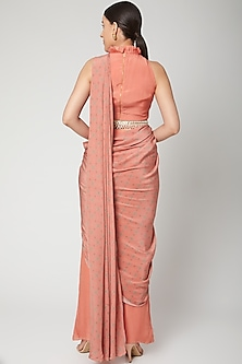 Peach Printed Pant Saree With Belt by Chhavvi Aggarwal