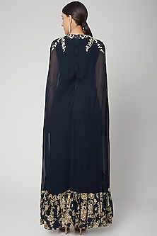 Navy Blue Printed Jumpsuit With Embroidered Patch by Chhavvi Aggarwal