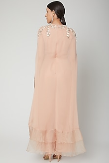 Peach Embroidered Jumpsuit With Frills by Chhavvi Aggarwal