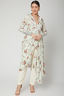 White Embroidered Dress With Pants by Chhavvi Aggarwal