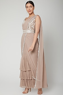 Nude Embroidered Saree Set With Belt by Chhavvi Aggarwal