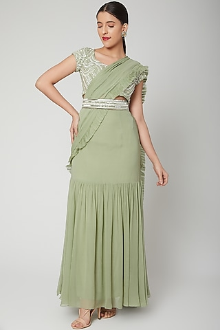 Mint Green Embroidered Saree Set With Belt by Chhavvi Aggarwal