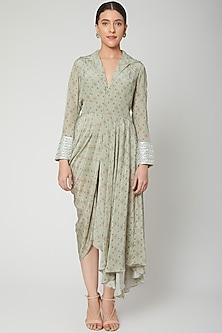 Mint Green Printed Draped Dress by Chhavvi Aggarwal