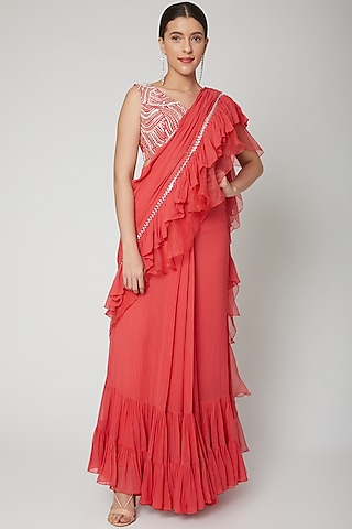 Peach Embroidered Frill Saree Set by Chhavvi Aggarwal