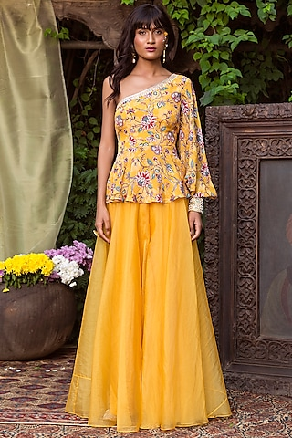 Yellow Peplum Top With Pants by Chhavvi Aggarwal