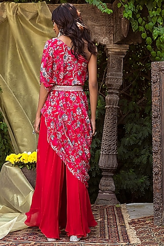 Red Top With Pant & Belt by Chhavvi Aggarwal
