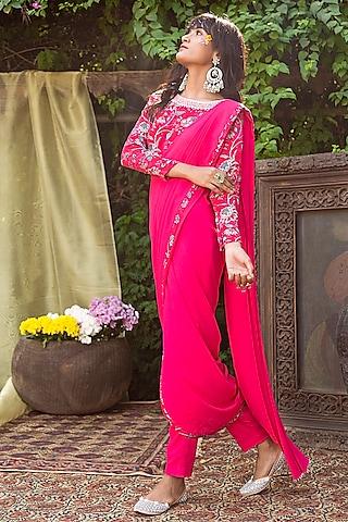 Red Printed Pant Saree Set by Chhavvi Aggarwal