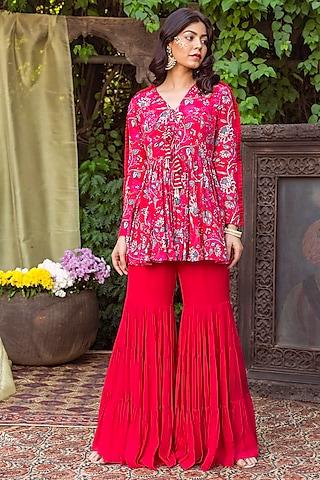 Red Printed Sharara Set by Chhavvi Aggarwal