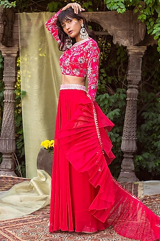 Red Floral Printed Palazzo Set by Chhavvi Aggarwal