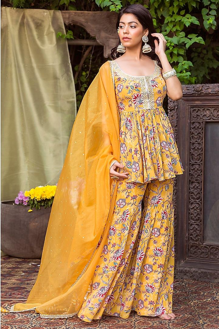 Yellow Printed Sharara Set by Chhavvi Aggarwal