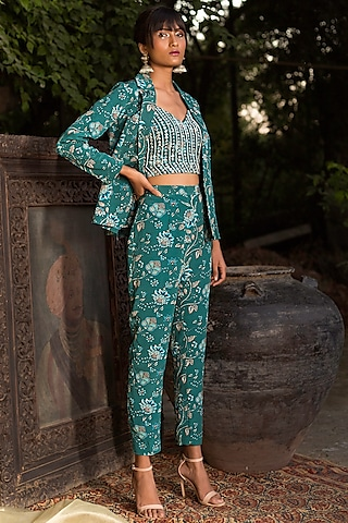 Teal Blue Suit Set by Chhavvi Aggarwal